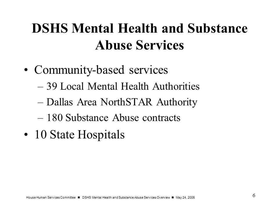 DSHS Mental Health and Substance Abuse Services