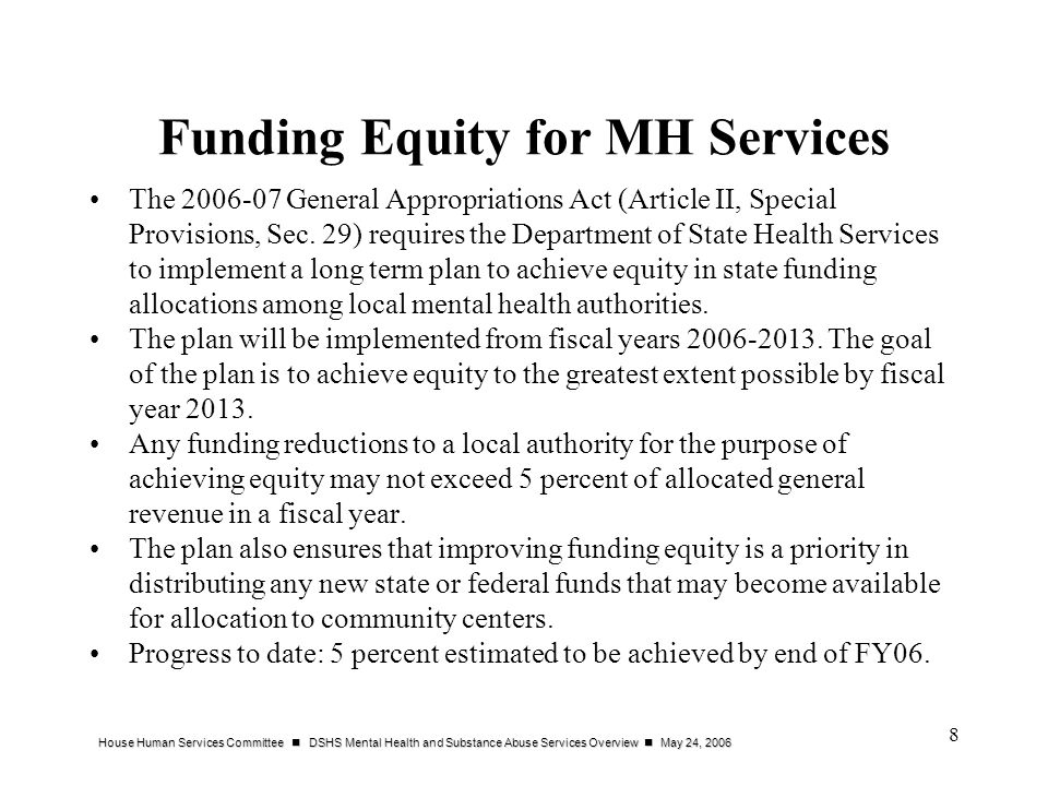 Funding Equity for MH Services