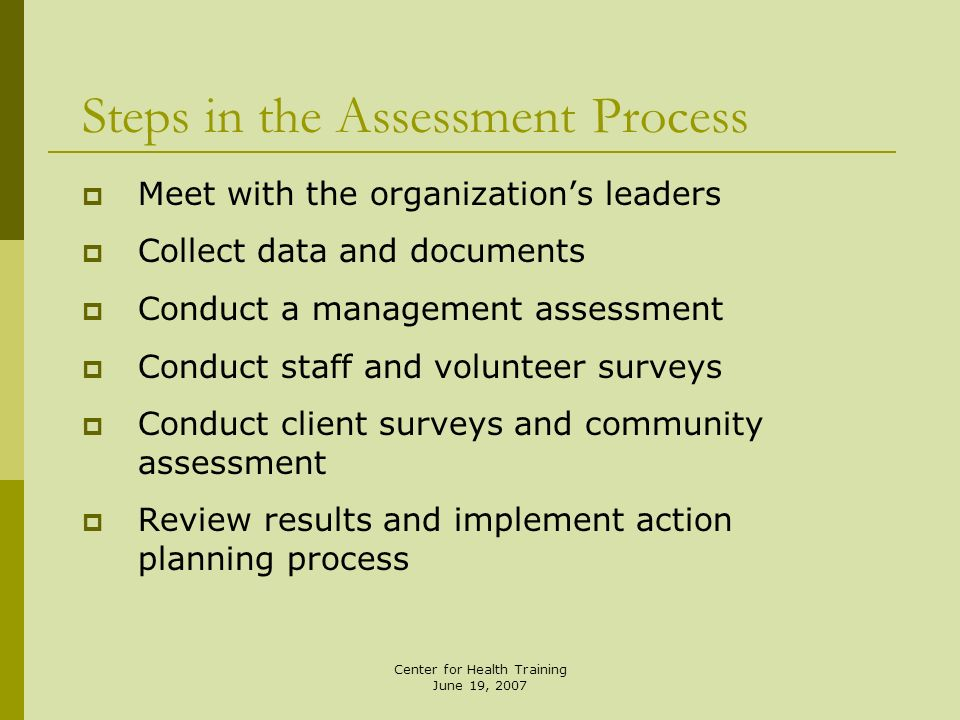 Steps in the Assessment Process