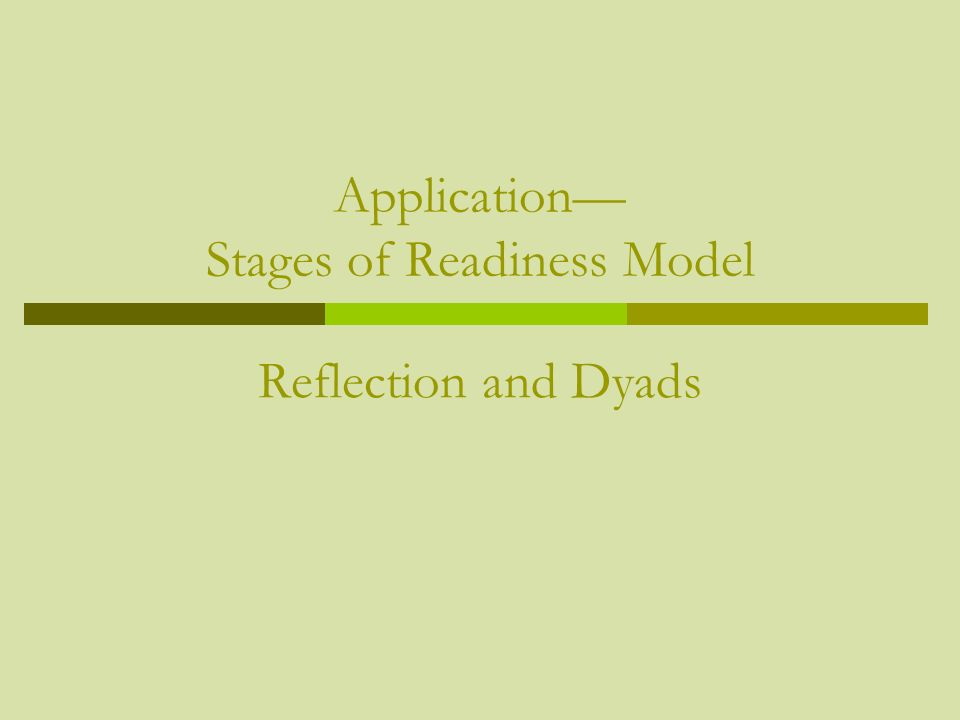 Application— Stages of Readiness Model