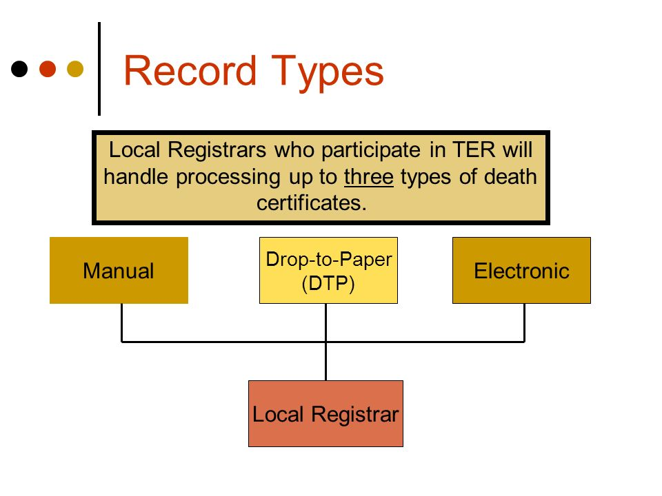 Record Types Local Registrar Electronic Manual