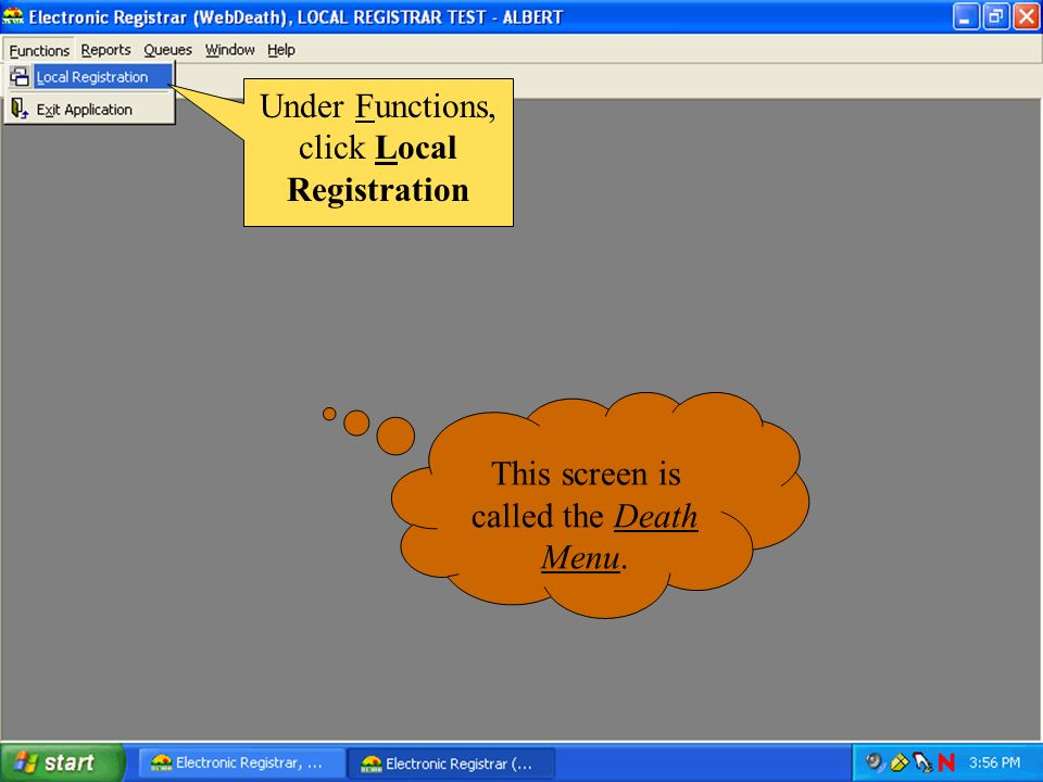Under Functions, click Local Registration
