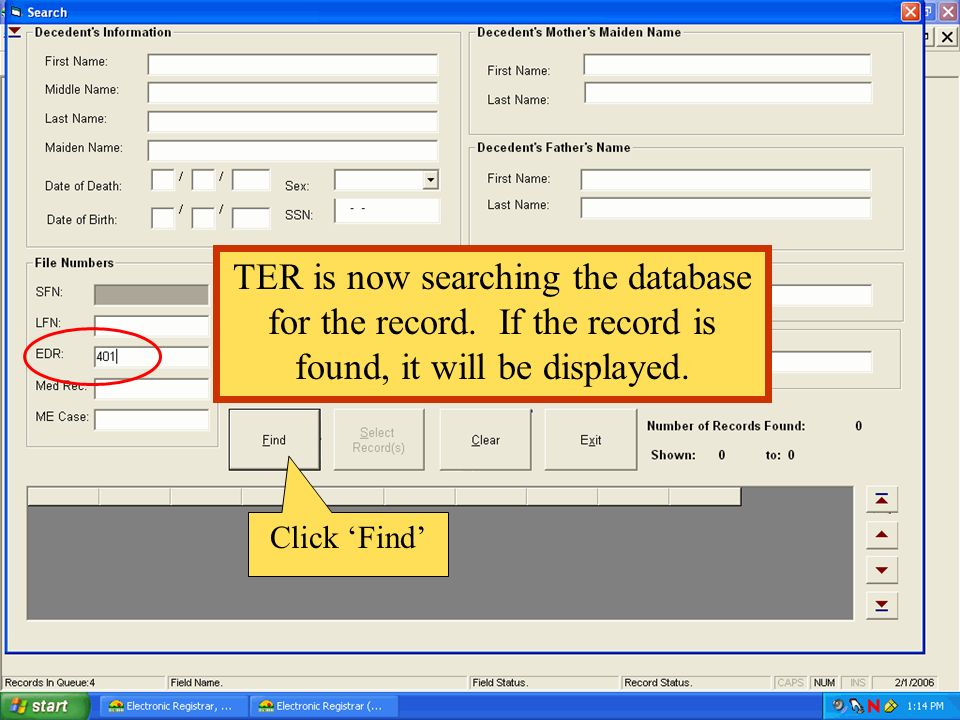 TER is now searching the database for the record