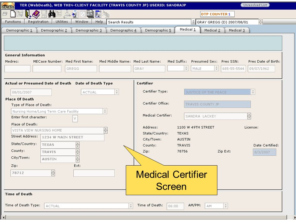 Medical Certifier Screen