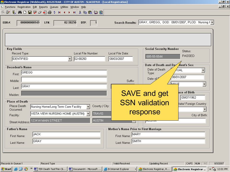 SAVE and get SSN validation response