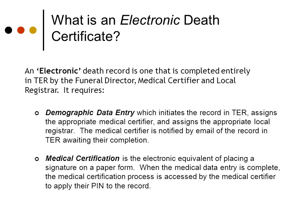 What is an Electronic Death Certificate