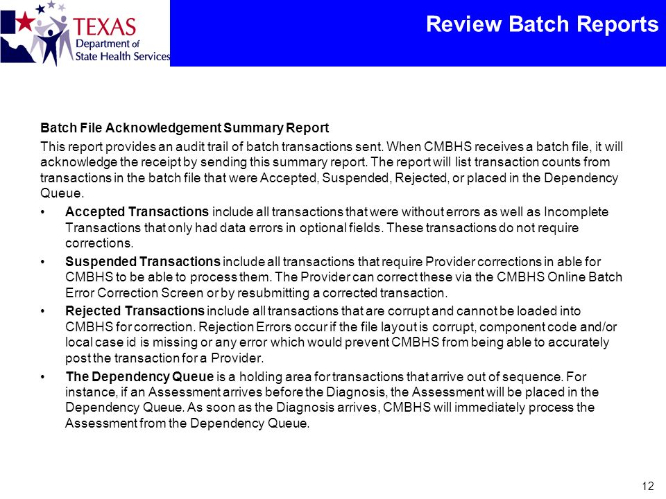 Review Batch Reports Batch File Acknowledgement Summary Report