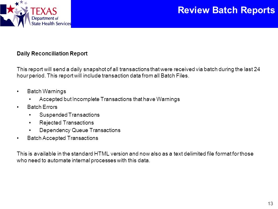 Review Batch Reports Daily Reconciliation Report