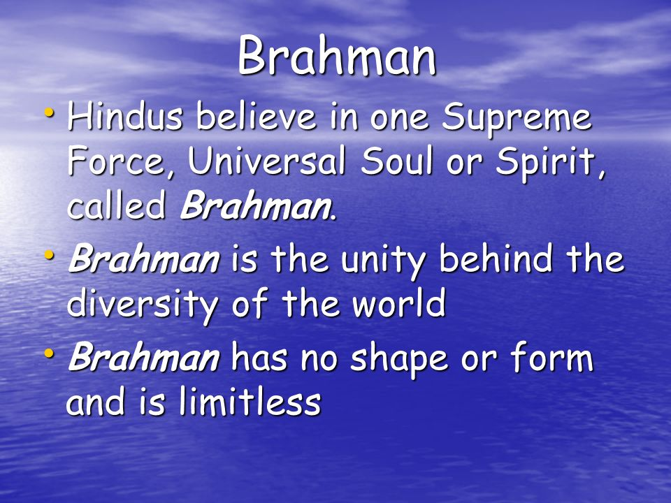 Brahman Hindus believe in one Supreme Force, Universal Soul or Spirit, called Brahman. Brahman is the unity behind the diversity of the world.