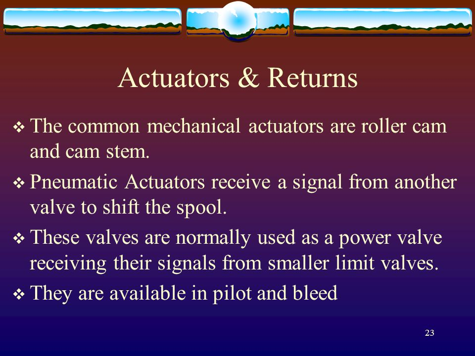 Actuators & Returns The common mechanical actuators are roller cam and cam stem.