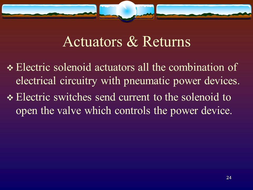Actuators & Returns Electric solenoid actuators all the combination of electrical circuitry with pneumatic power devices.