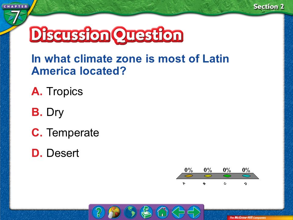 In what climate zone is most of Latin America located A. Tropics
