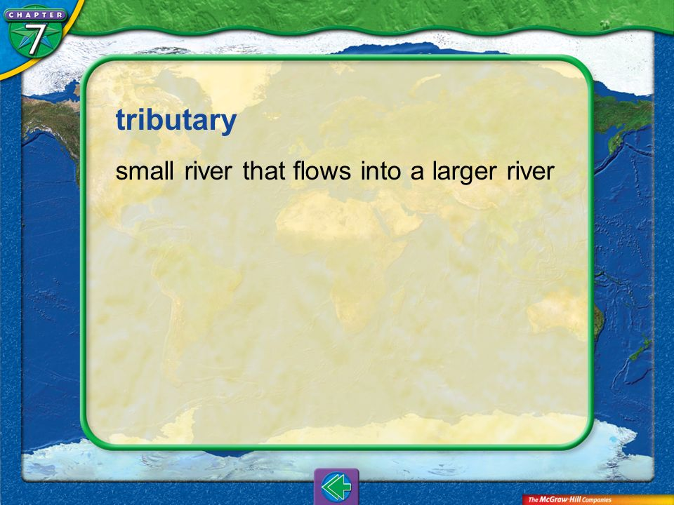 tributary small river that flows into a larger river Vocab7