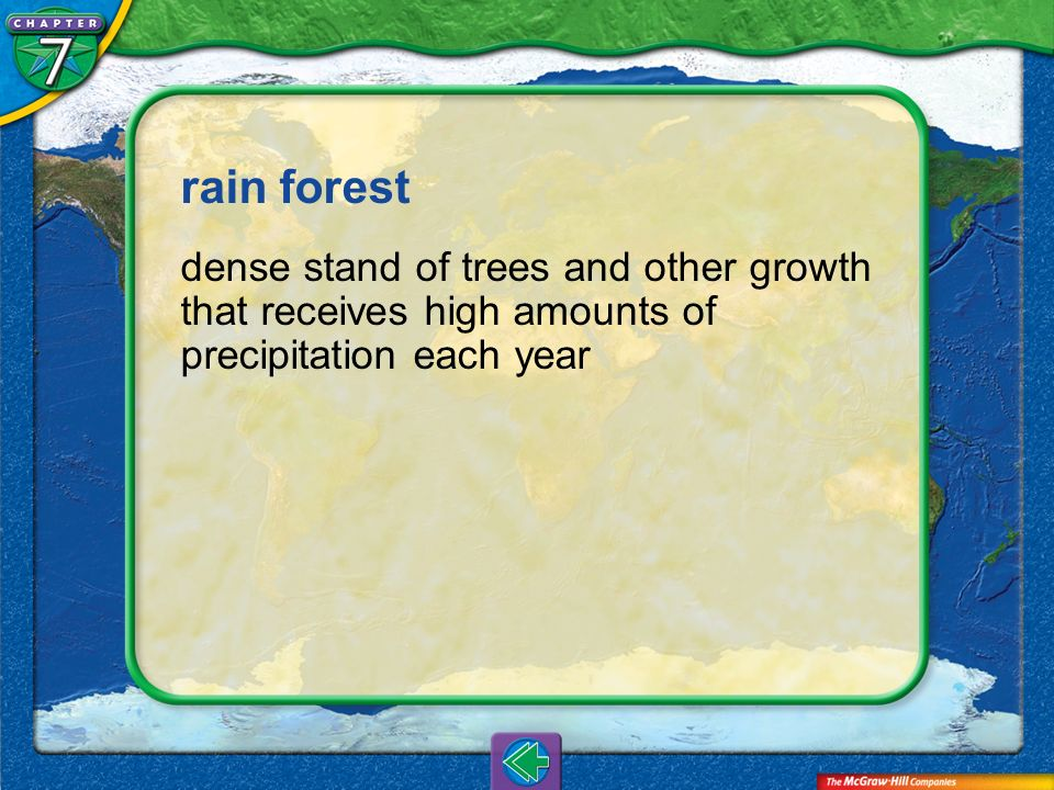 rain forest dense stand of trees and other growth that receives high amounts of precipitation each year.