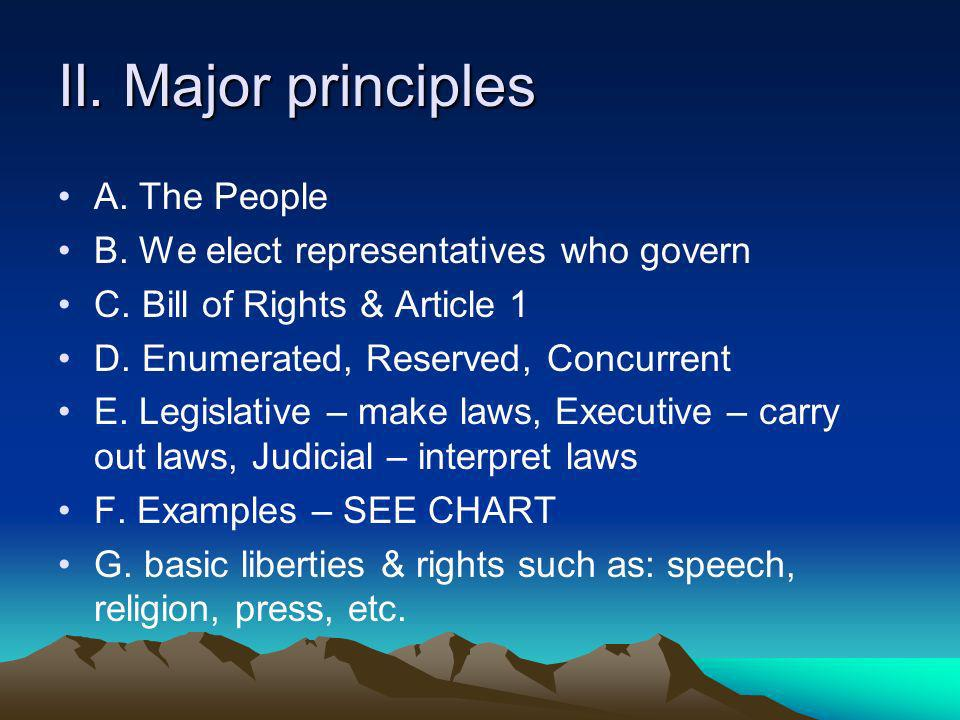II. Major principles A. The People