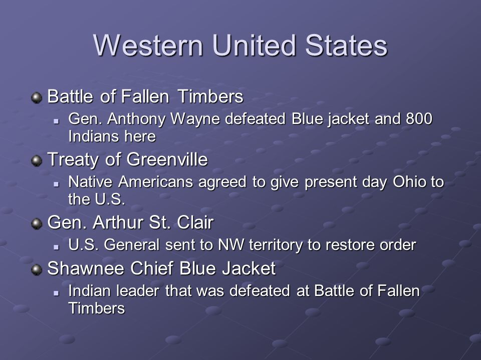 Western United States Battle of Fallen Timbers Treaty of Greenville