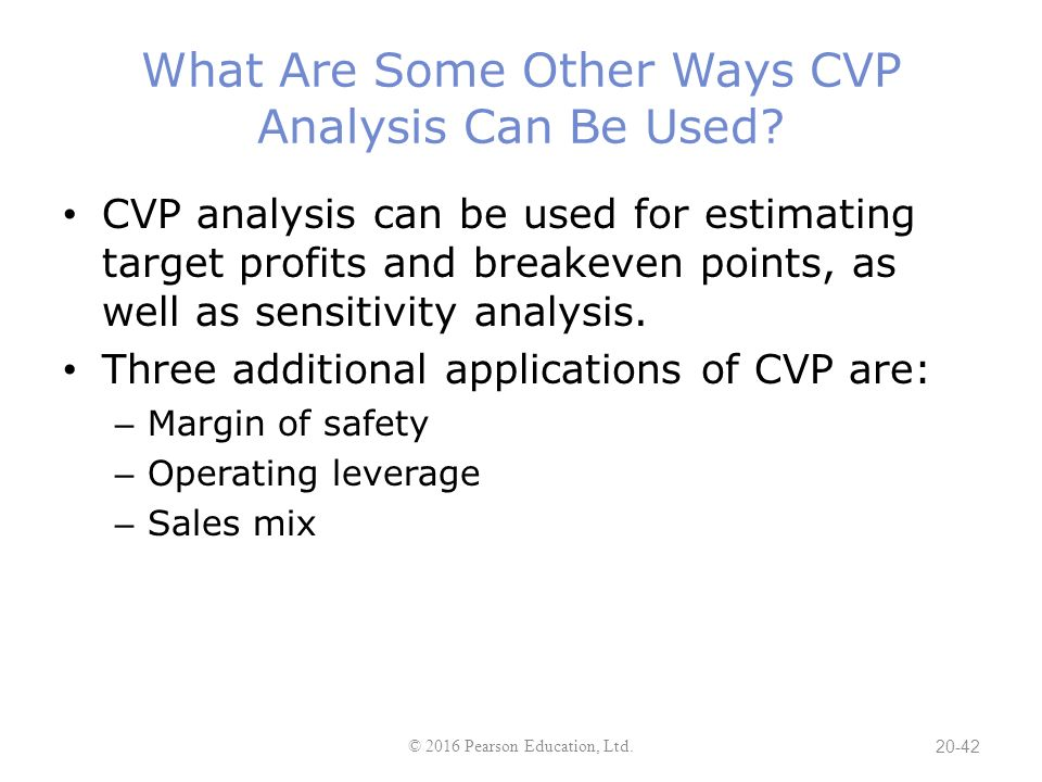 applications of cvp analysis