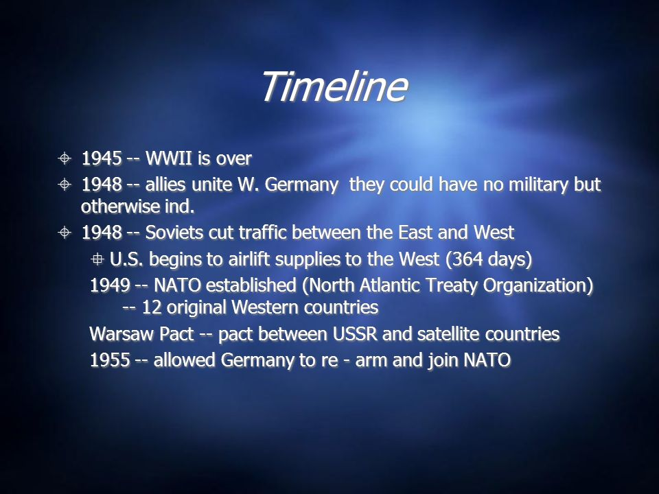 Timeline 1945 -- WWII is over