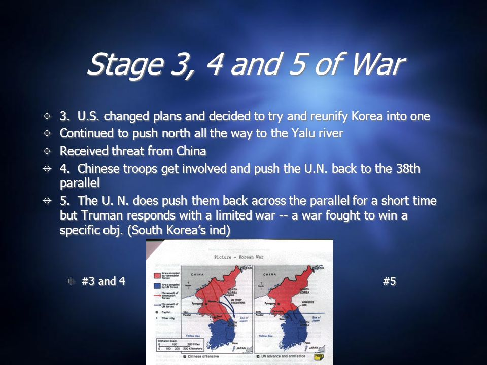 Stage 3, 4 and 5 of War 3. U.S. changed plans and decided to try and reunify Korea into one. Continued to push north all the way to the Yalu river.