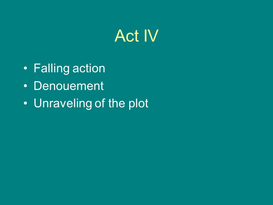 Act IV Falling action Denouement Unraveling of the plot