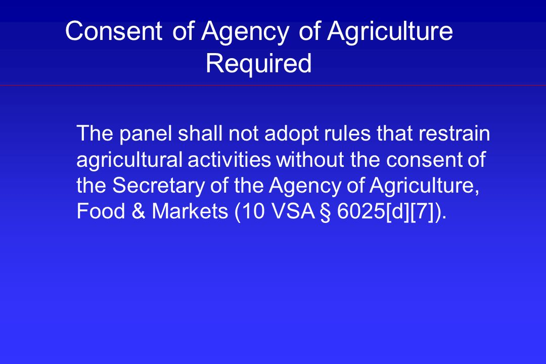 Consent of Agency of Agriculture Required