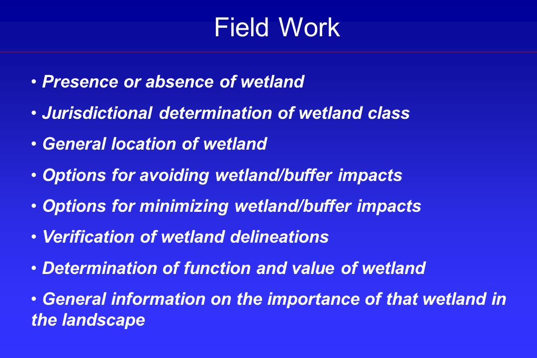 Field Work Presence or absence of wetland