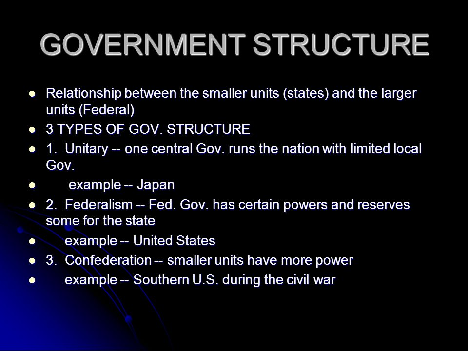 GOVERNMENT STRUCTURE Relationship between the smaller units (states) and the larger units (Federal)