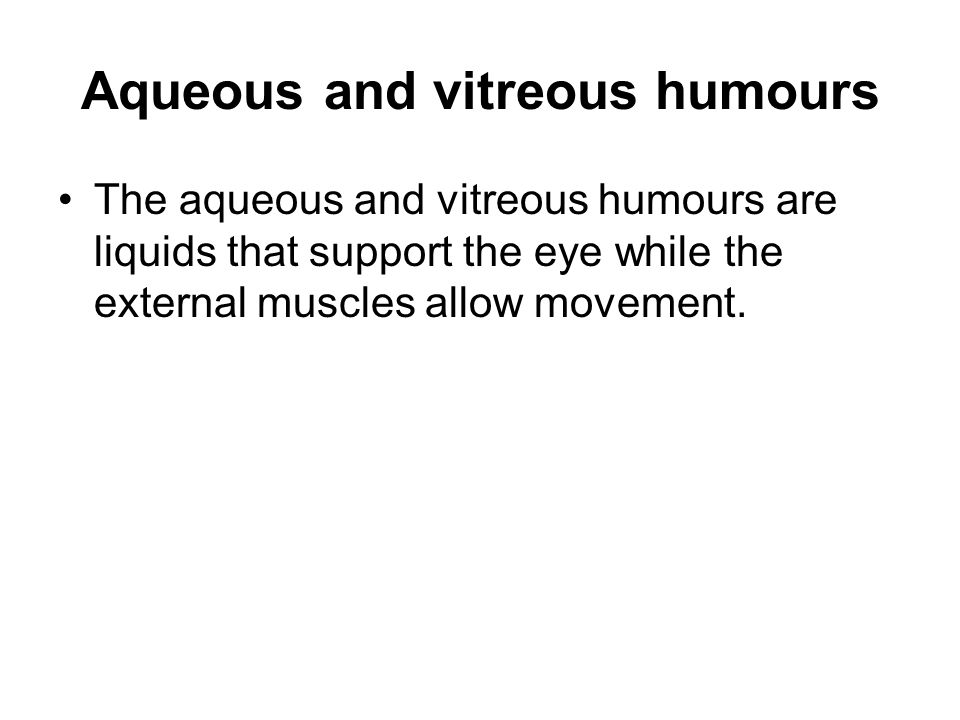 Aqueous and vitreous humours