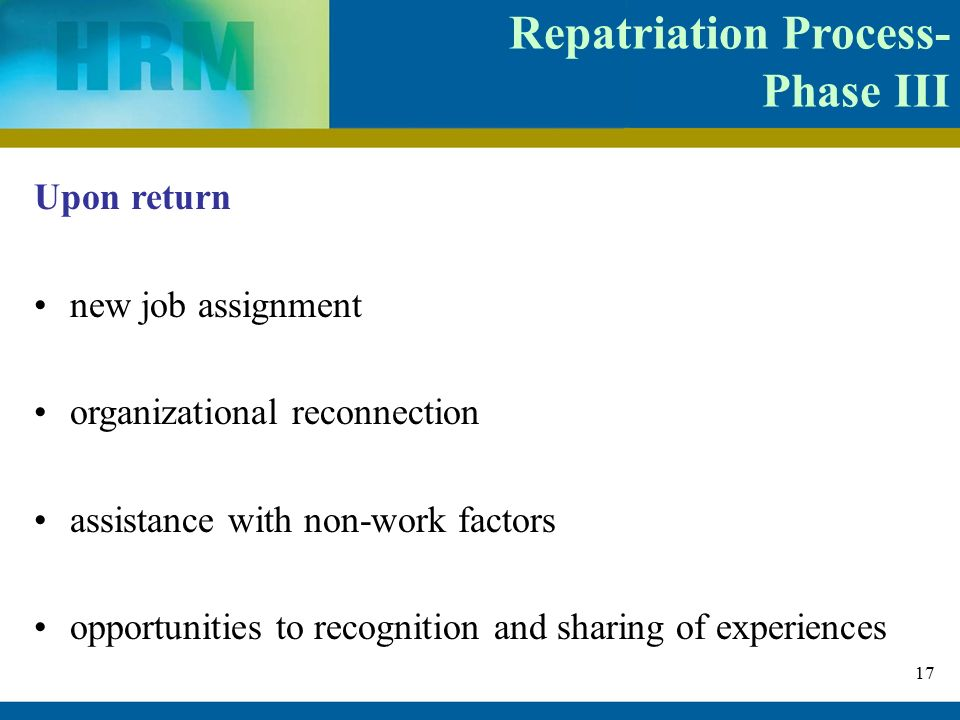 phases of repatriation process