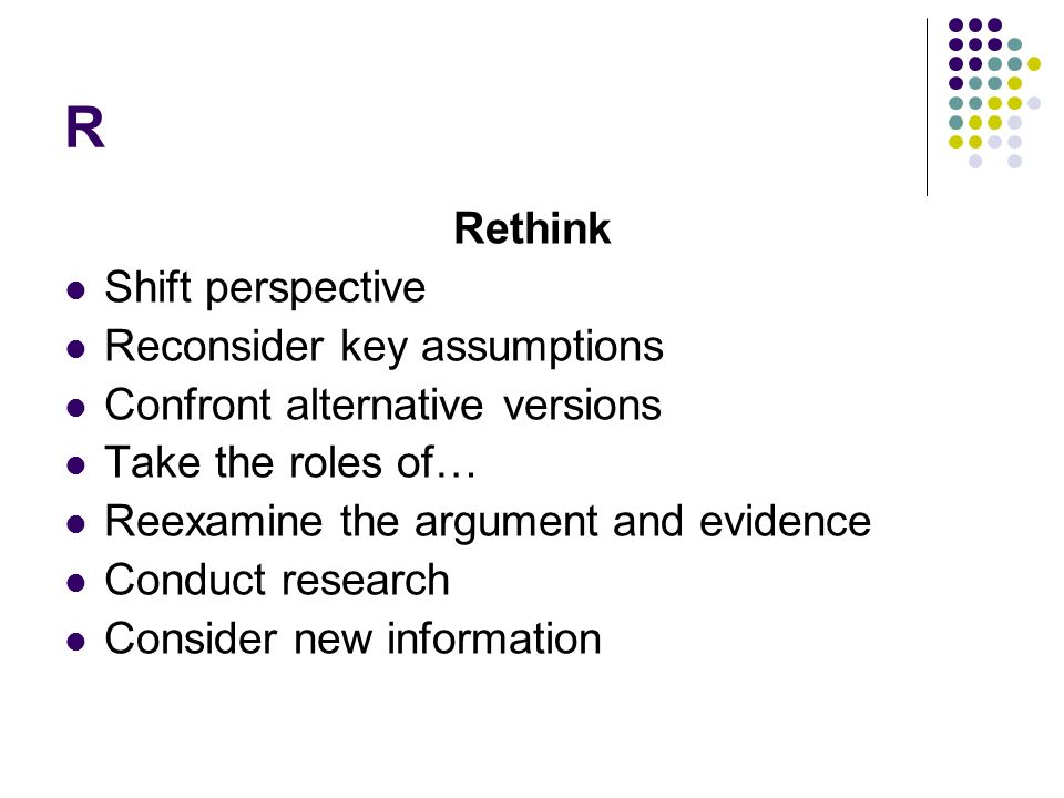 R Rethink Shift perspective Reconsider key assumptions