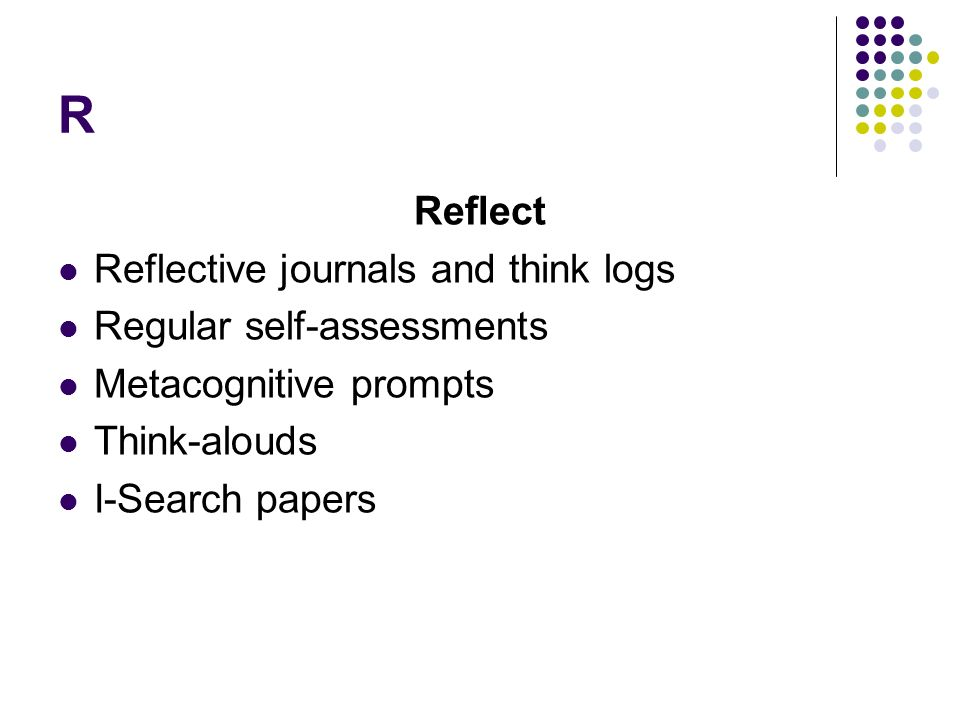 R Reflect Reflective journals and think logs Regular self-assessments