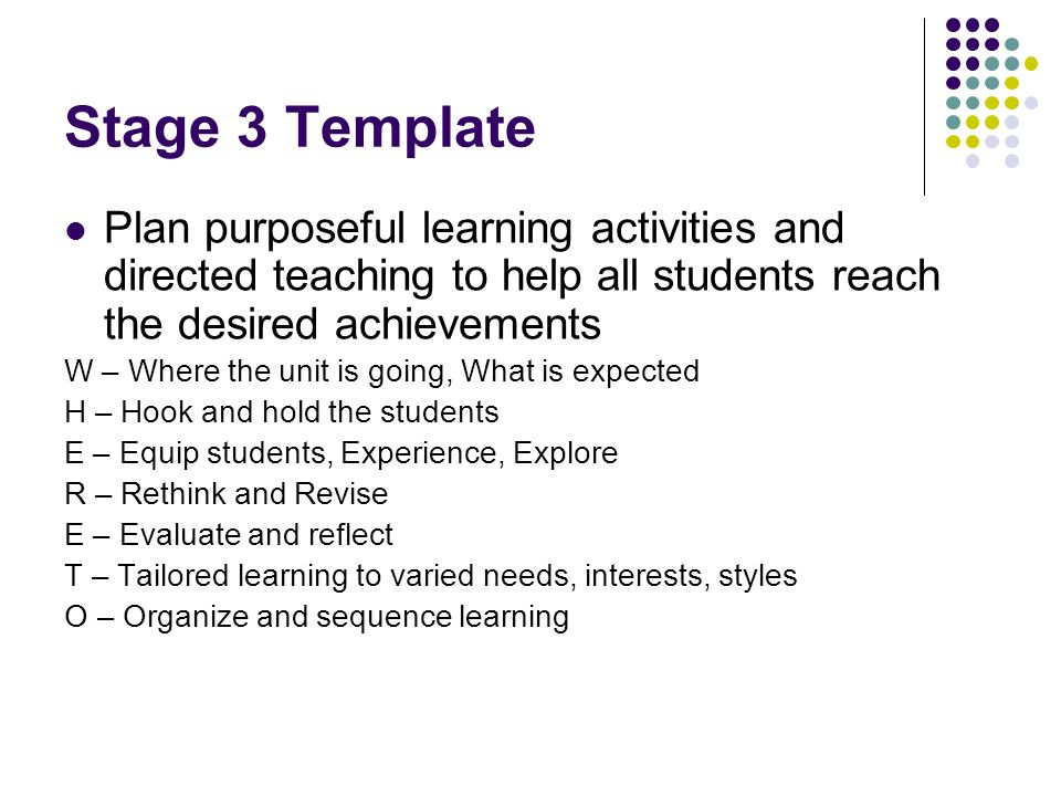 Stage 3 Template Plan purposeful learning activities and directed teaching to help all students reach the desired achievements.