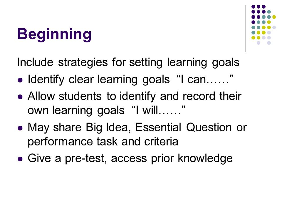 Beginning Include strategies for setting learning goals