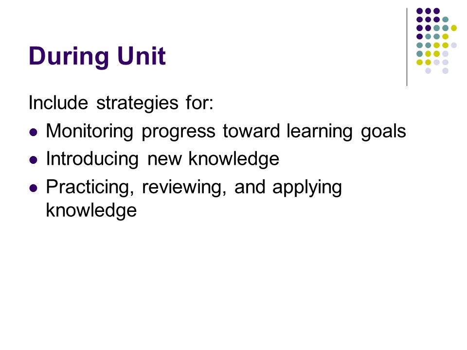 During Unit Include strategies for: