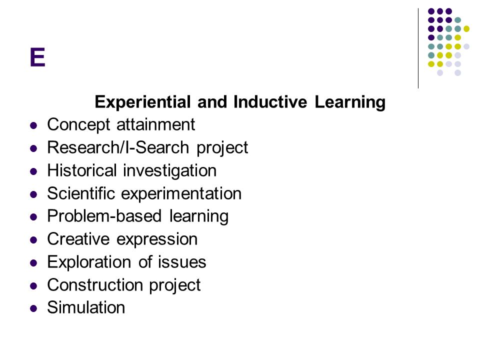 Experiential and Inductive Learning
