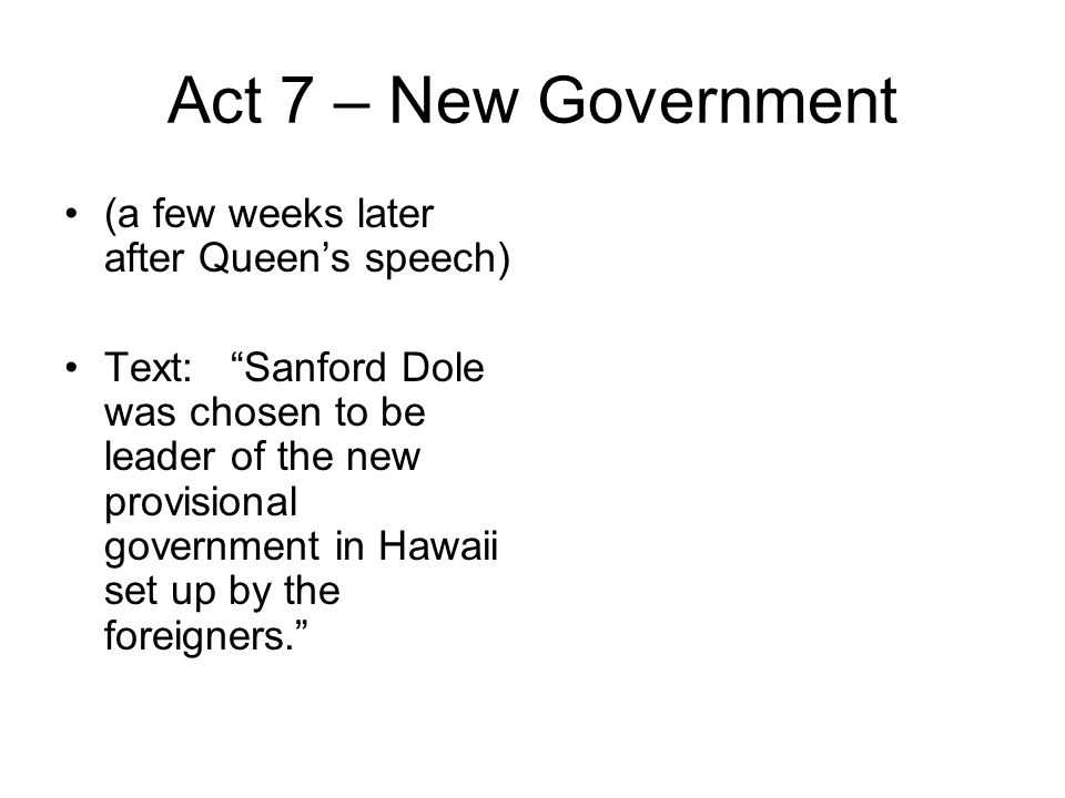 Act 7 – New Government (a few weeks later after Queen's speech)
