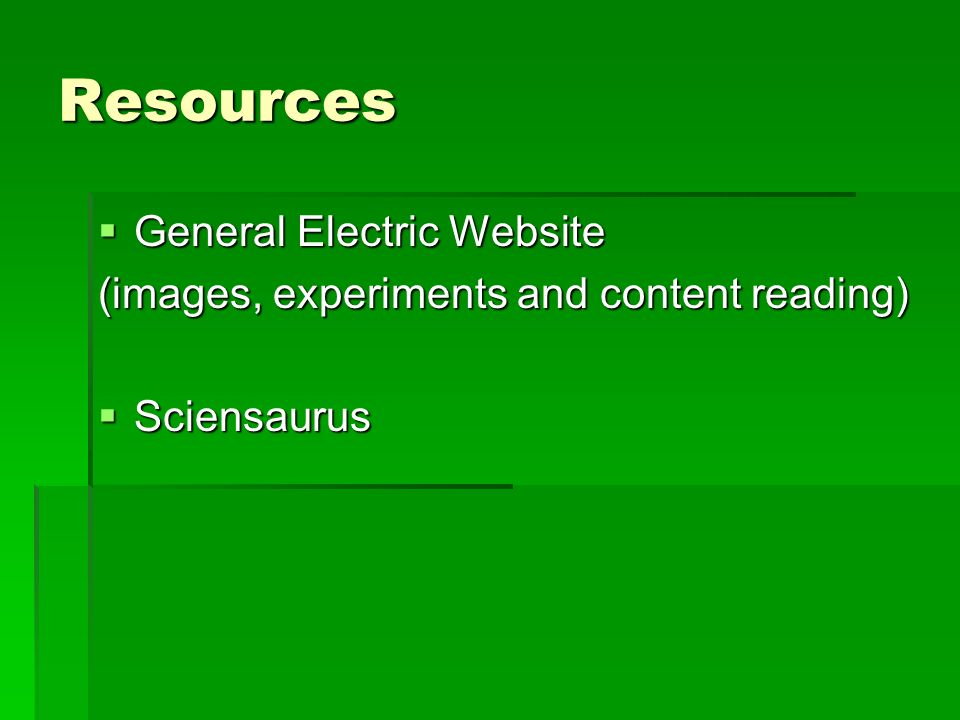 Resources General Electric Website