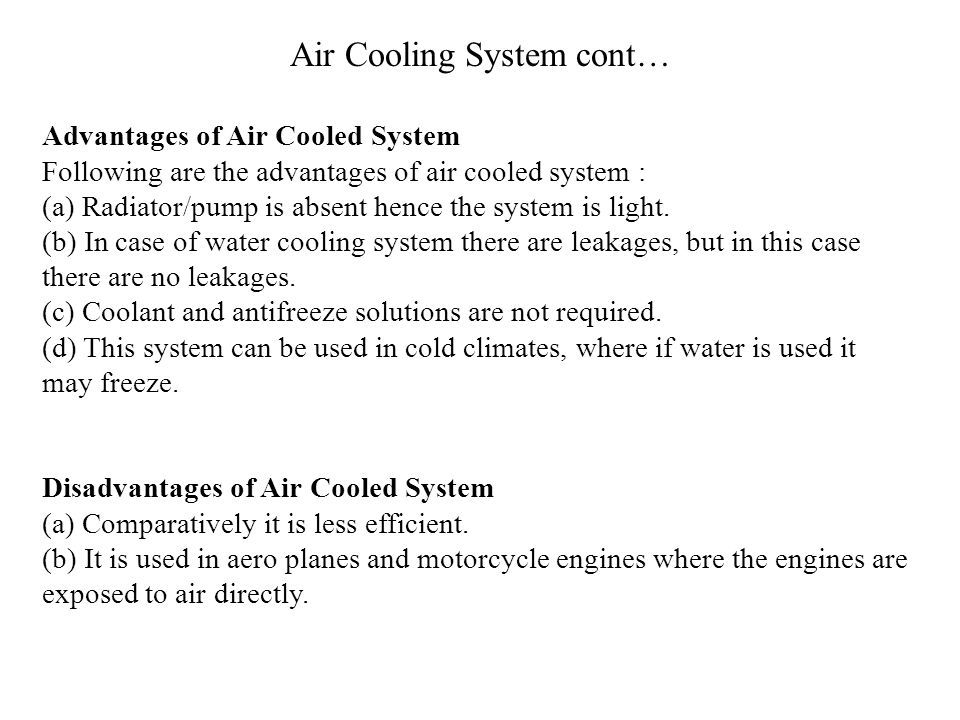 Air Cooling System cont…