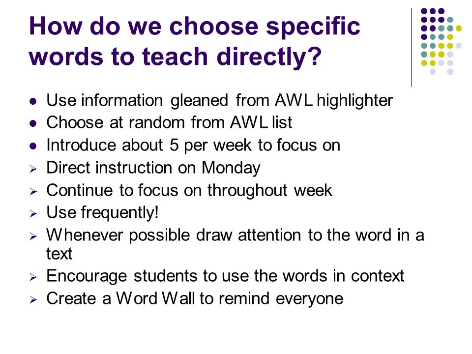 How do we choose specific words to teach directly