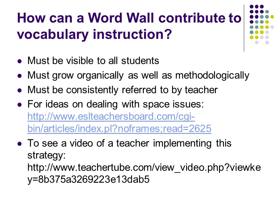 How can a Word Wall contribute to vocabulary instruction