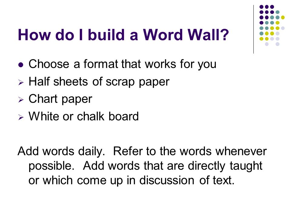 How do I build a Word Wall