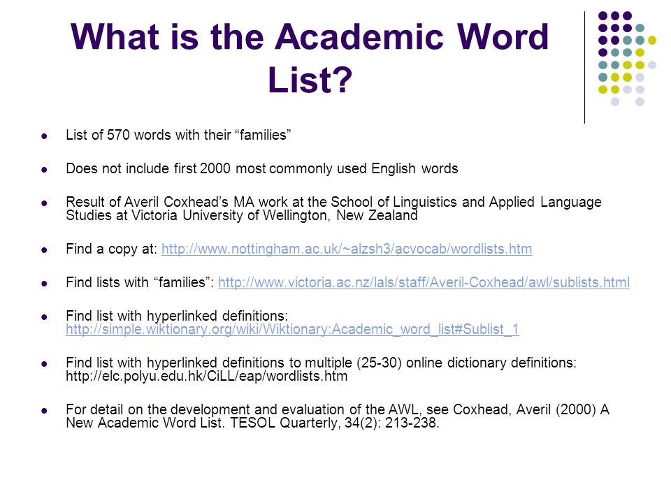 Using the Academic Word List - ppt download