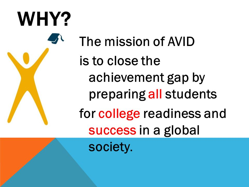 WHY The mission of AVID is to close the achievement gap by preparing all students for college readiness and success in a global society.