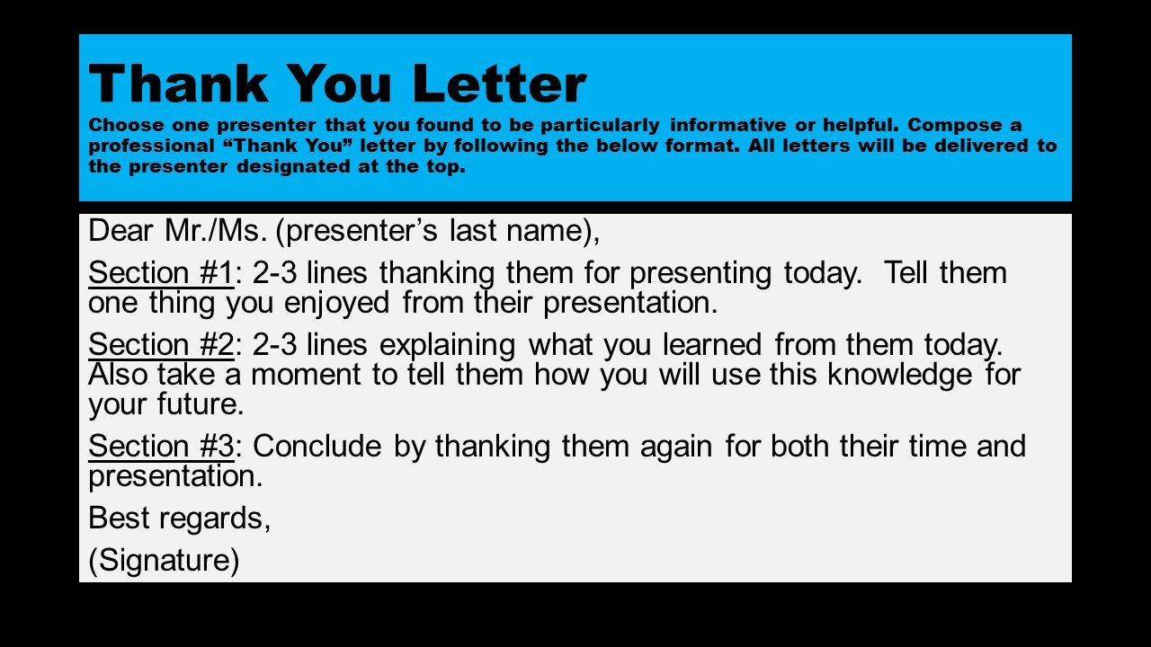 Career day 8th grade 8th grade 0417 ppt video online download 4 thank you letter choose one presenter expocarfo Choice Image