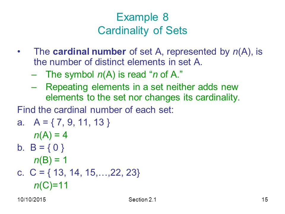 how to find the cardinal number of two sets