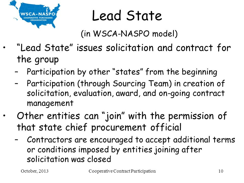Lead State (in WSCA-NASPO model)