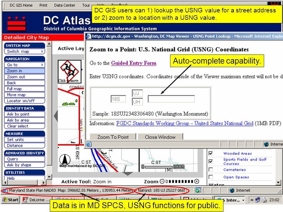 Data is in MD SPCS, USNG functions for public.