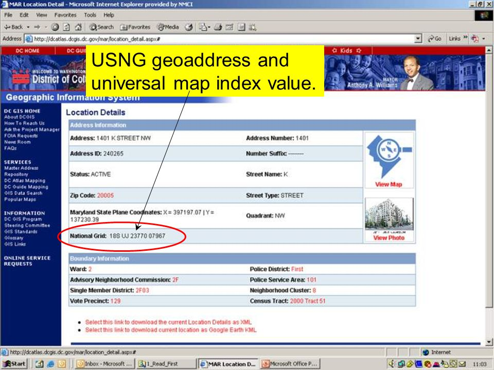 USNG geoaddress and universal map index value.