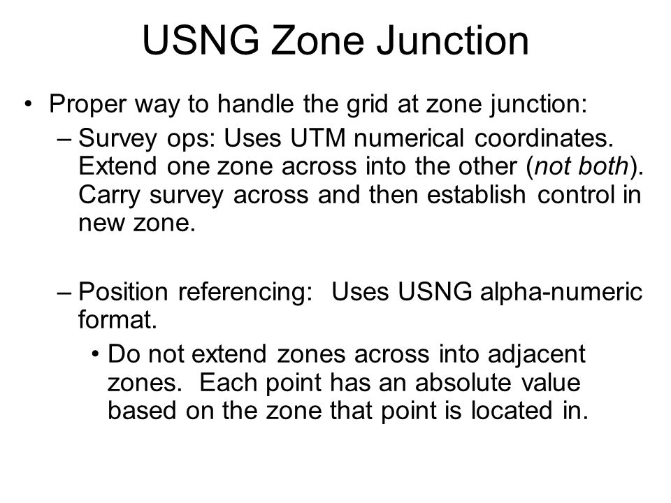 USNG Zone Junction Proper way to handle the grid at zone junction: