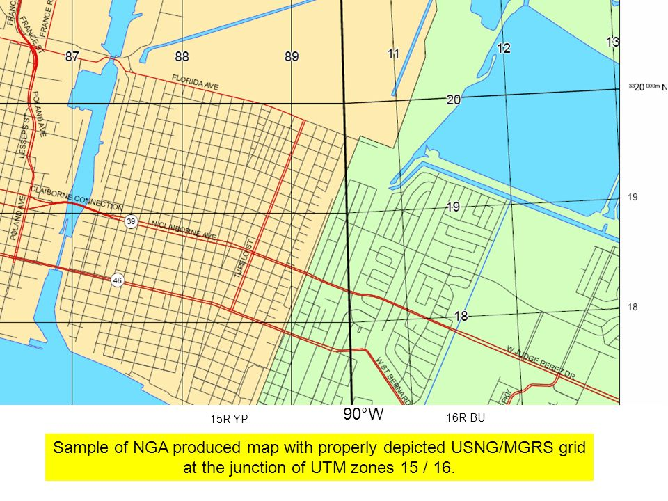 Sample of NGA produced map with properly depicted USNG/MGRS grid
